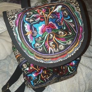 NWT embroidered purse backpack